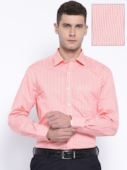 John Players Coral Red & White Checked Formal Shirt