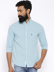 U.S. Polo Assn. Navy & Green Checked Tailored Fit Casual Shirt