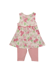 mothercare Girls Pink & Off-White Floral Print Clothing Set