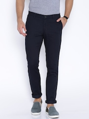 John Players Navy Slim Fit Chino Trousers