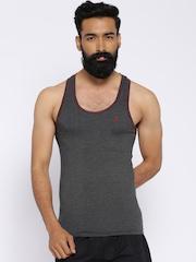 Playboy Charcoal Grey Melange Racer Fit Innerwear Vest UPB601