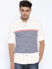 Locomotive White & Navy Striped Casual Shirt
