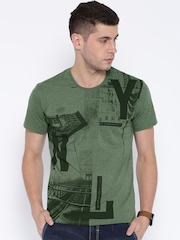 Locomotive Green Melange Printed T-shirt