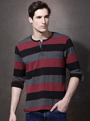 Roadster Men Maroon & Black Striped Henley Neck T-shirt