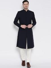 Brahaan BLUE TAG Navy & White Slim Fit Sherwani