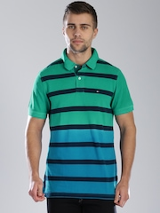 Tommy Hilfiger Green & Blue Ombre-Dyed Striped Custom Fit Polo T-shirt