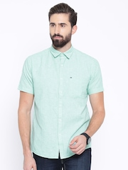 Pepe Jeans Green & White Striped Semi Fit Casual Shirt