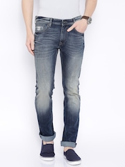 Pepe Jeans Men Blue Vapour Slim Fit Low-Rise Lightly Distressed Jeans
