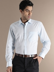 Louis Phillipe Blue Checked Classic Fit Formal Shirt