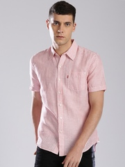 Levi's Pink Striped Linen Slim Casual Shirt