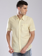 Levi's Yellow Striped Linen Slim Casual Shirt
