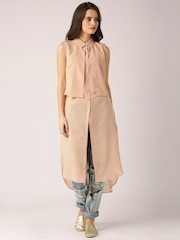 DressBerry Peach-Coloured Polyester Maxi Top