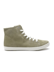 FOREVER 21 Women Olive Green Cow Leather Sneakers
