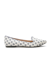 FOREVER 21 Women Off-White Floral Print Flat Shoes