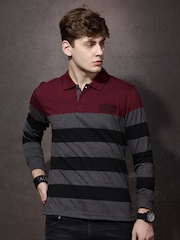 Roadster Men Charcoal Grey & Black Striped Polo Collar T-shirt