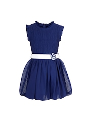 naughty ninos Girls Navy Fit & Flare Dress