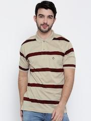 Duke Beige & Maroon Striped Polo T-shirt