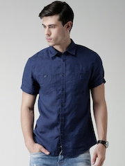 Celio Navy Linen Casual Shirt