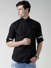 Celio Black Linen Casual Shirt