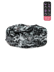 Ayesha Unknown Unisex Grey & Black Printed Multifunctional Headwear