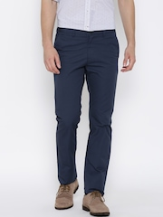 Allen Solly Blue Custom Fit Casual Trousers