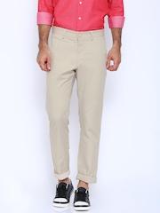 Allen Solly Beige Custom Fit Trousers