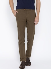Indian Terrain Olive Brown Brooklyn Fit Chino Trousers