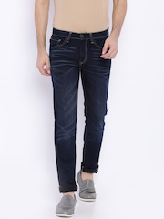 Allen Solly Navy Washed Slim Fit Jeans