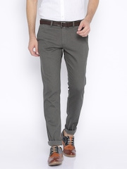 Indian Terrain Grey Brooklyn Slim Fit Casual Trousers