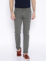 Indian Terrain Olive Green Brooklyn Slim Fit Casual Trousers