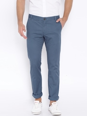 Indian Terrain Blue Brooklyn Slim Fit Chino Trousers