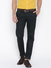 Indian Terrain Black Brooklyn Slim Fit Smart Casual Trousers