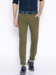 Indian Terrain Olive Green Brooklyn Slim Fit Trousers
