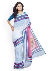 Unnati Silks White & Blue Hand Painted Pure Kerala Cotton Traditional Saree