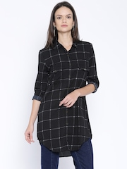 Tokyo Talkies Black Checked Polyester Tunic