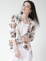 New Look Multicoloured Polyester Floral Print Front Open Blazer