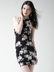 New Look Black Floral Print Bodycon Dress