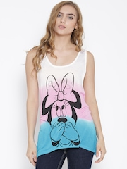 Mickey Off-White Dyed Printed Sleeveless Longline T-shirt