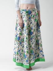 GERUA Off-White Floral Print Flared Maxi Skirt