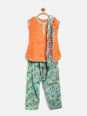 BIBA Girls Orange & Green Printed Salwar Suit with Dupatta
