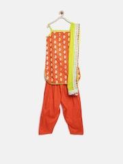 BIBA Girls Orange Salwar Suit with Dupatta