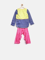 BIBA Girls Blue & Pink Printed Salwar Suit with Jacket & Dupatta