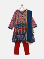 BIBA Girls Navy & Maroon Printed Salwar Suit with Dupatta