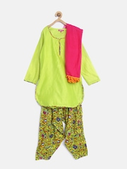 BIBA Girls Lime Green Printed Salwar Suit with Dupatta