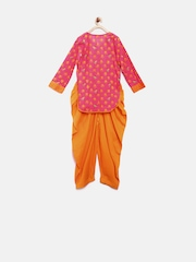 BIBA Girls Pink & Orange Printed Salwar Suit with Dupatta