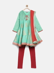 BIBA Girls Mint Green & Red Printed Salwar Suit with Dupatta