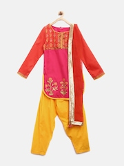 BIBA Girls Pink & Yellow Printed Salwar Suit with Dupatta
