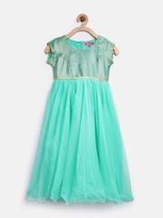 BIBA Girls Green Fit & Flare Dress