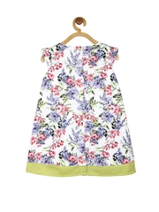 My Lil Berry Girls White Floral Print A-Line Dress
