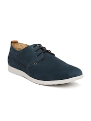 Hush Puppies Men Navy Leather Derby Shoes
